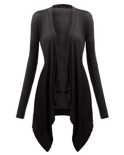 Stylish Long Sleeve Solid Color Asymmetrical Women's Blouse