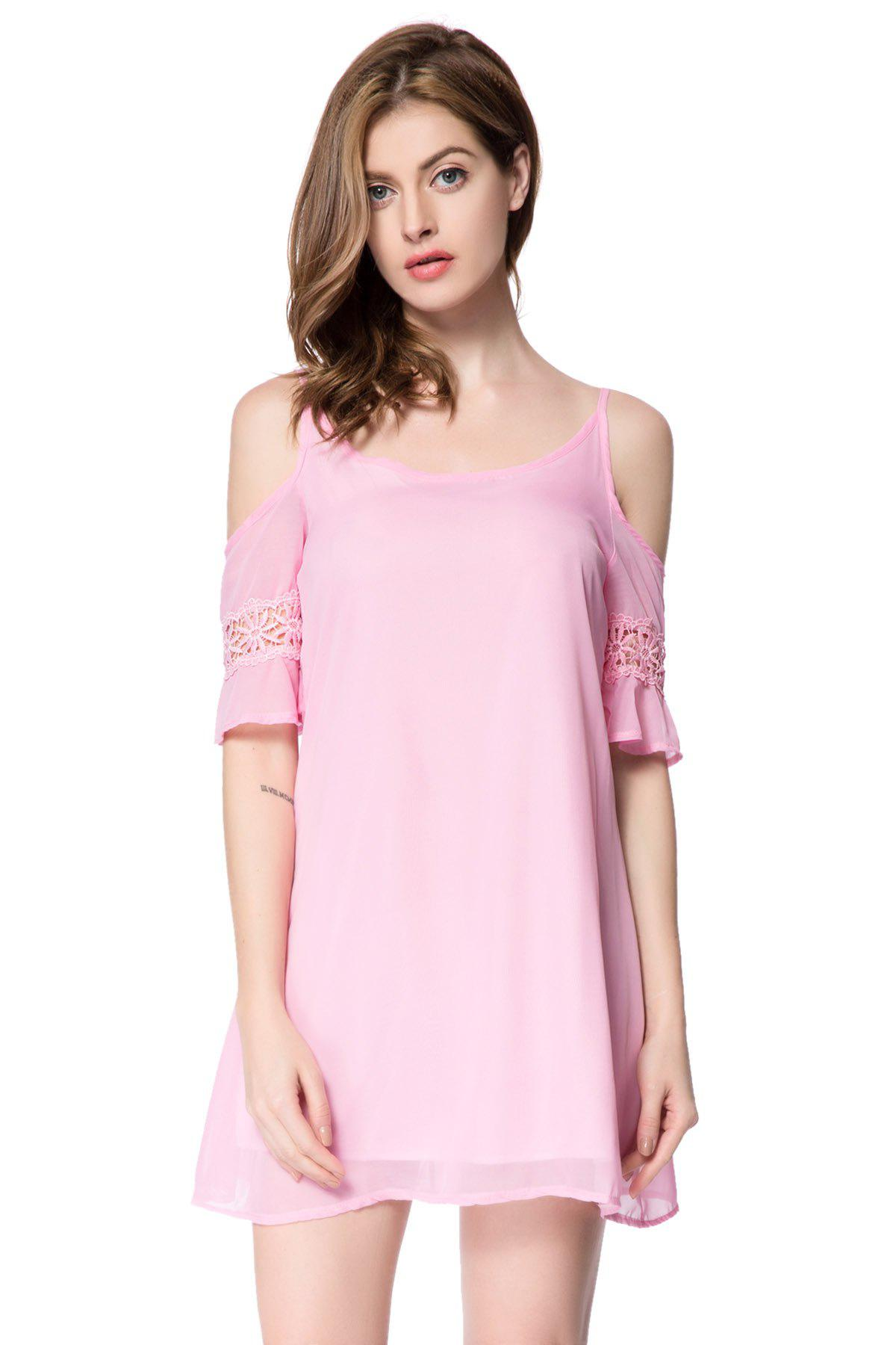 Casual Spaghetti Strap 3/4 Sleeve Solid Color Backless Women's Dress - PINK S