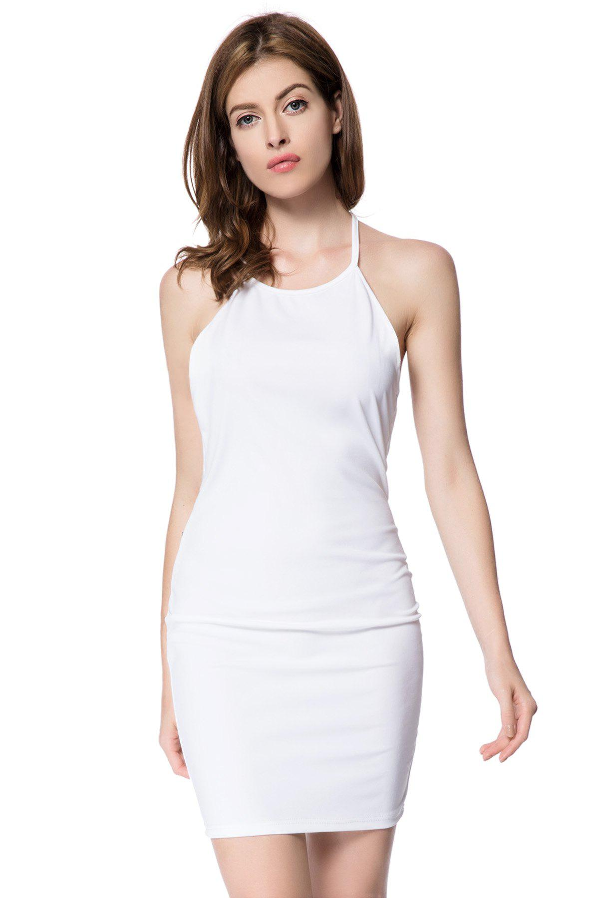 Sexy Scoop Neck Sleeveless Bodycon Backless Women's Dress