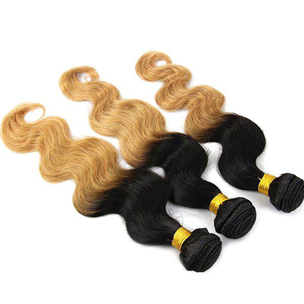 Stylish Brazilian Virgin Hair Body Wavy Black Golden Omber Women's Human Hair Weft Extension - OMBRE 16INCH