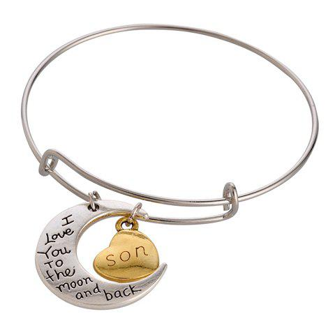 Retro Classic English Word Heart Moon Bracelet For Women - SILVER