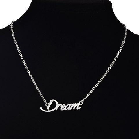 Retro Classic English Word Solid Color Pendant Necklace For Women - SILVER