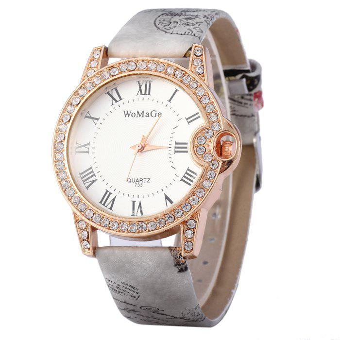 Womage 733 Female Diamond Quartz Watch with Printed Leather Band - GRAY