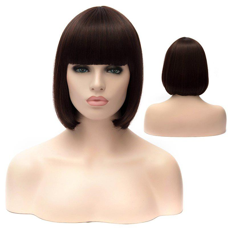 Stylish Bob Deep Brown Spiffy Straight Full Bang Synthetic Short Capless Wig For Women -  DEEP BROWN
