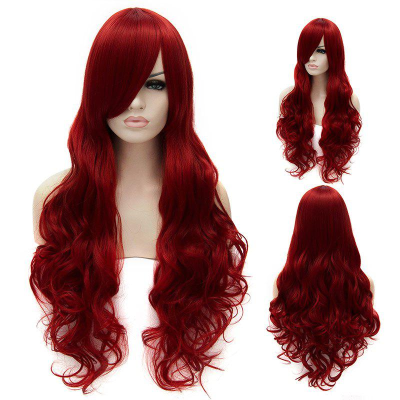 Long Wave Lolita Style Synthetic Side Bang Trendy Wine Red Cosplay Wig For Women - RED