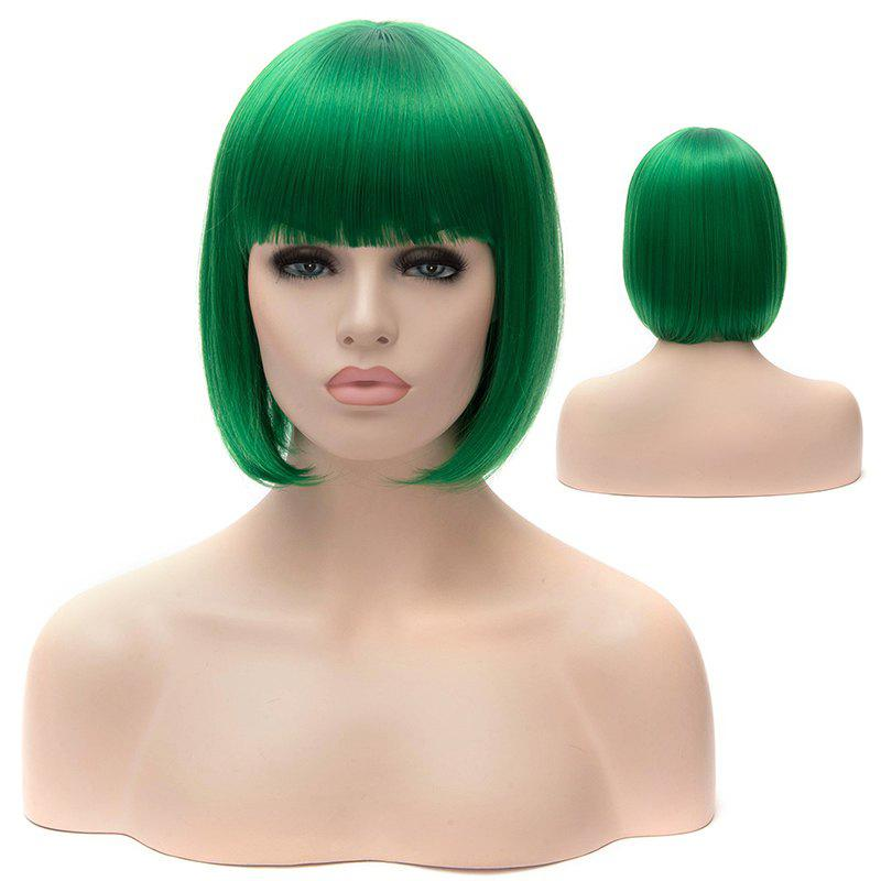 Fashion Neat Bang Trendy Bob Synthetic Short Straight Green Capless Wig For Women - GREEN