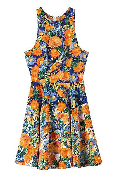 Fashionable Jewel Neck Orange Floral Print Sleeveless Dress For Women