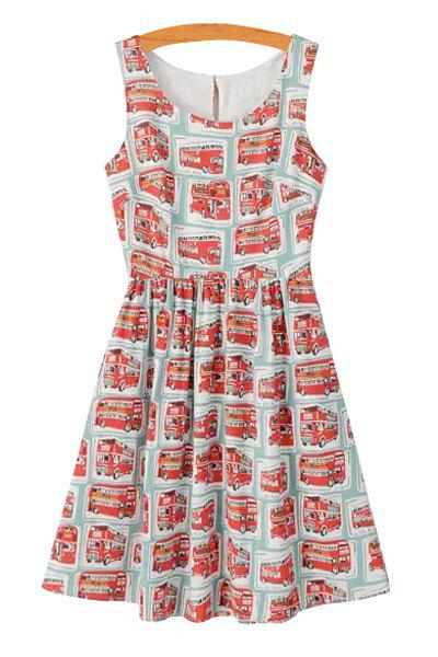 Casual Style Scoop Neck Red Bus Print Sleeveless Dress For Women