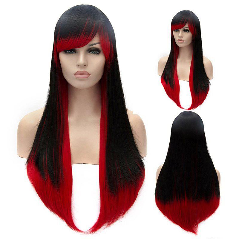 Black To Red Ombre Fashion Side Bang Lolita Long Synthetic Straight Capless Cosplay Womens Wig