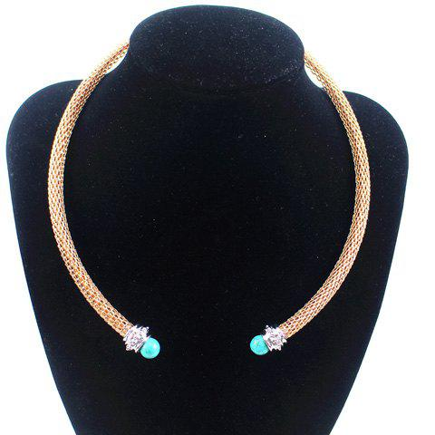 Vintage Ethnic Turquoise Decorated Necklace For Women - GOLDEN