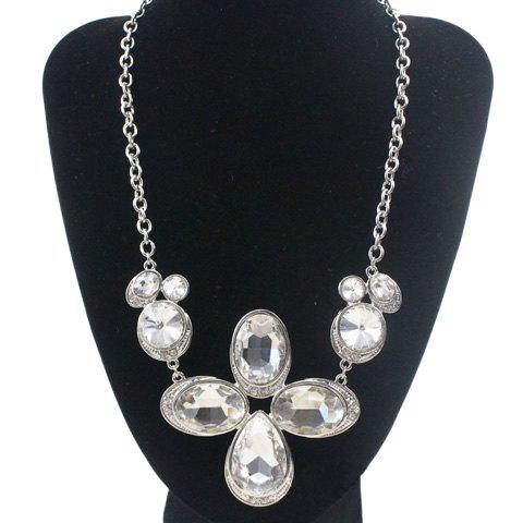Sweet Delicate Rhinestone Leaf Necklace For Women - WHITE GOLDEN