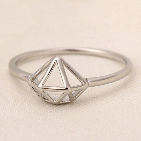 Simple Laconic Diamond Shape Ring For Women - WHITE GOLDEN ONE-SIZE