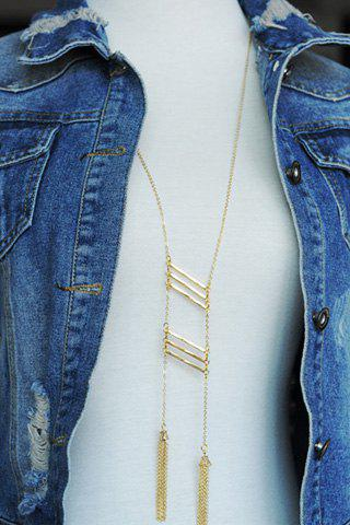 Simple Chic Geometric Tassel Sweater Chain Necklace For Women - GOLDEN