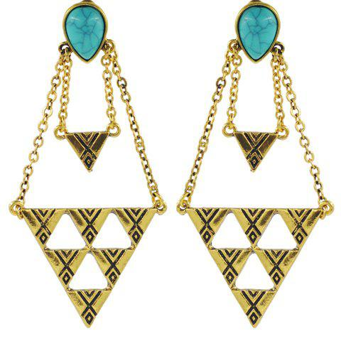 Pair of Faux Turquoise Triangle Earrings - GOLDEN