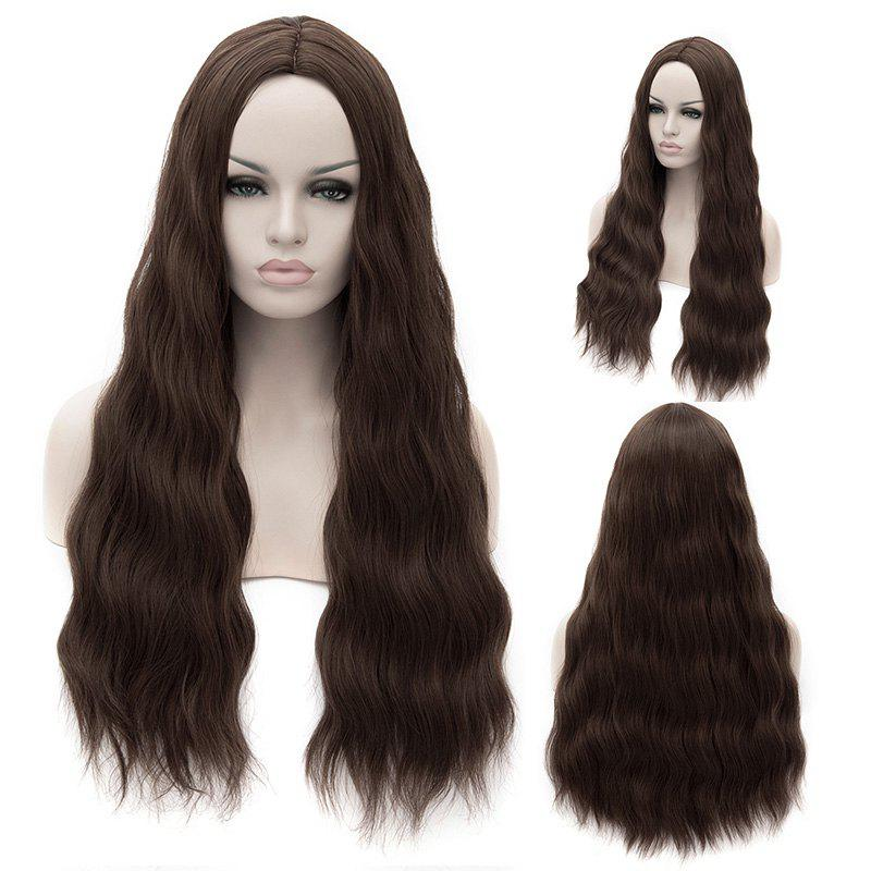 Fashion Wavy Long Synthetic Centre Parting Elegant Deep Brown Capless Cosplay Wig For Women - DEEP BROWN