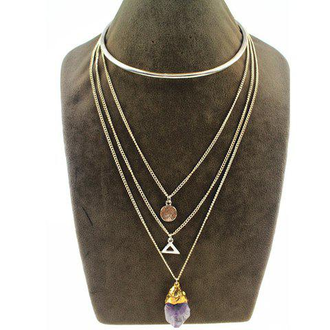 Chic Cute Faux Crystal Layered Multi-Element Necklace For Women - SILVER