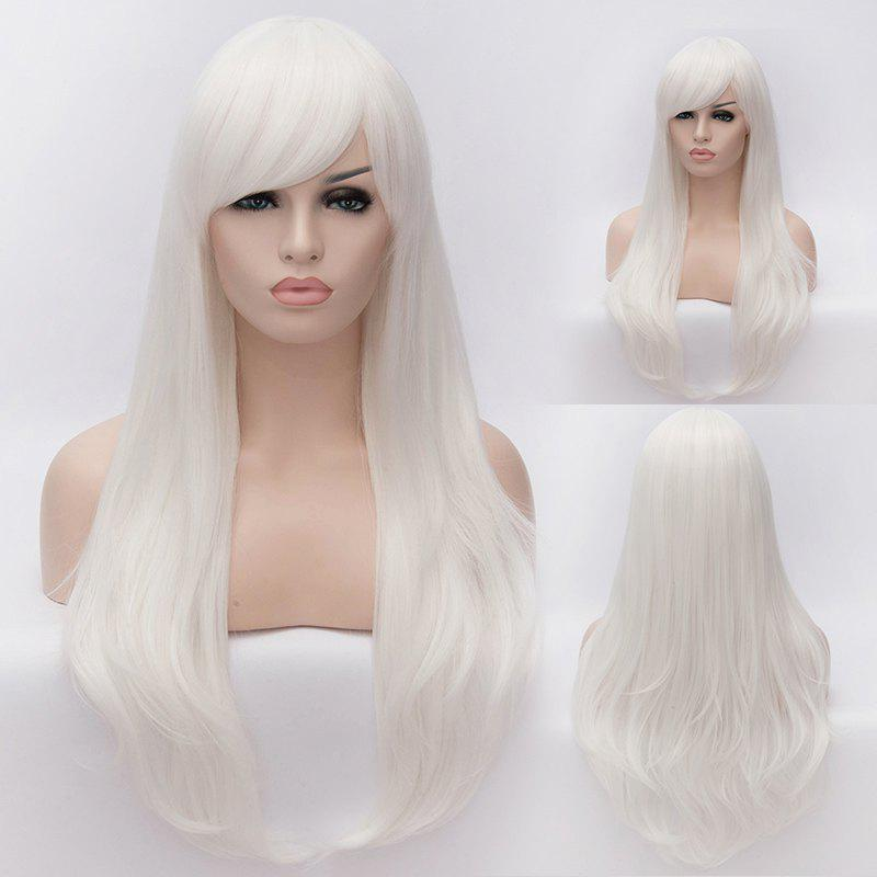 White Long Lolita Style Heat Resistant Synthetic Trendy Side Bang Wave Capless Cosplay Wig vogue synthetic neat bang long natural straight offbeat black white highlight capless lolita style cosplay wig page 3