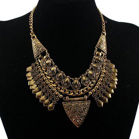 Retro Classic Hollow Triangle Necklace For Women - GOLDEN
