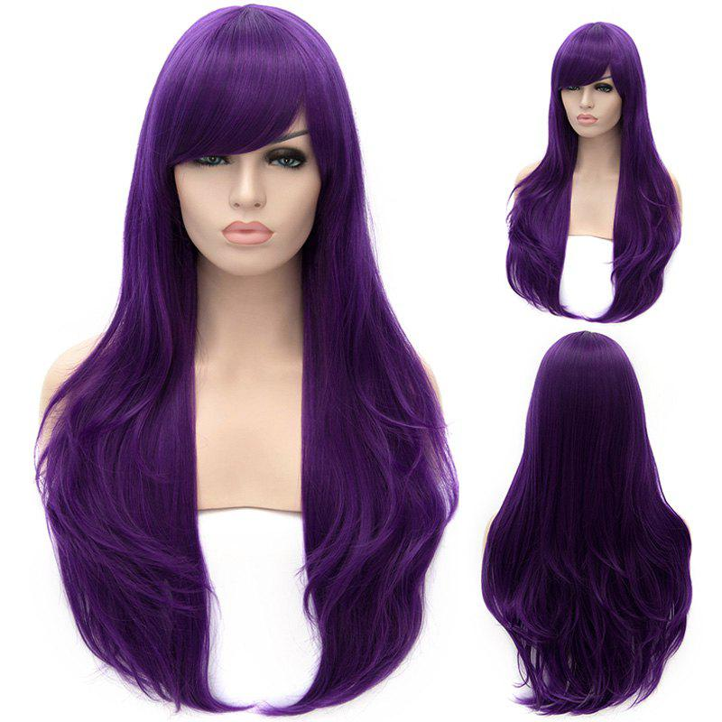 Fluffy Heat Resistant Fiber Inclined Bang Long Lolita Style Purple Wavy Capless Cosplay Wig -  PURPLE