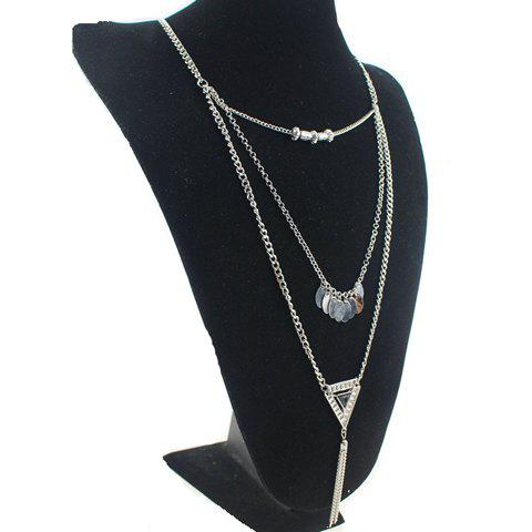 Stylish Chic Beads Triangle Tassel Necklace For Women - SILVER