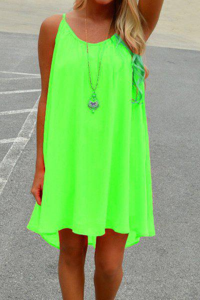 Stylish Spaghetti Strap Solid Color Hollow Out Women's Chiffon Dress - NEON GREEN XL