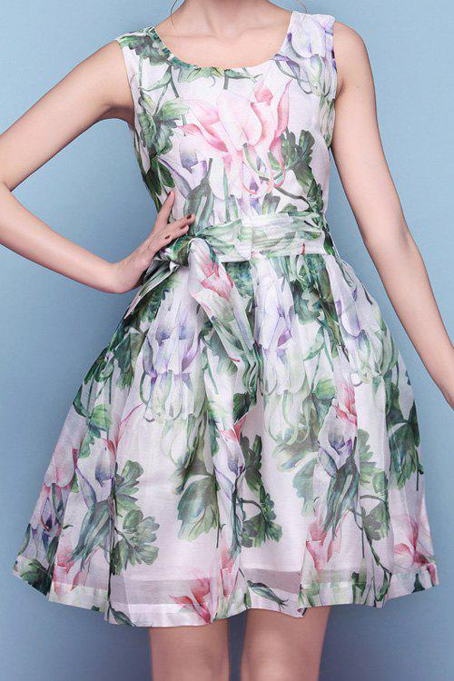 Sweet Style Scoop Neck Floral Print Tie-Up Ruffle Sleeveless Dress For Women - GREEN S