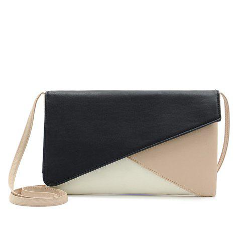 Simple Style Splicing and Envelope Design Women's Crossbody Bag - WHITE/BLACK
