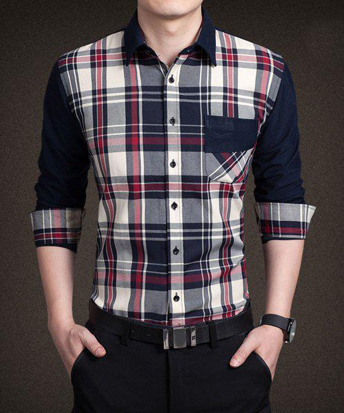 Stylish Shirt Collar Color Block Plaid Splicing Pocket Design ...