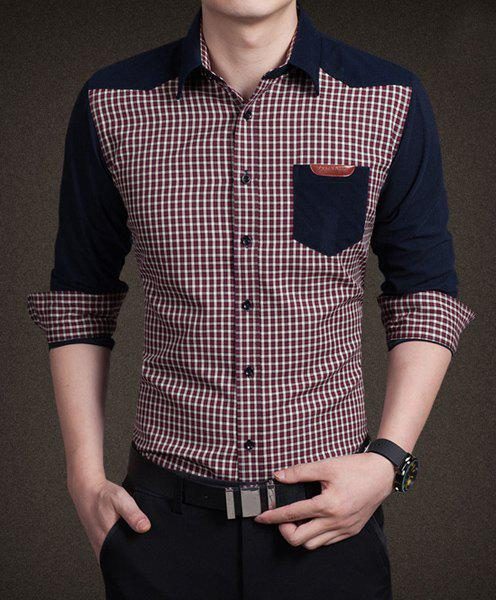 Slimming Shirt Collar Trendy Gingham Splicing Pocket Labeling Long Sleeve Cotton Blend Men's Shirt asymmetric gingham pocket shirt