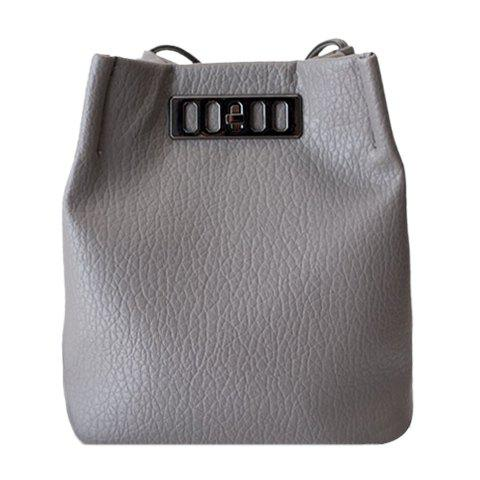 Sweet Solid Color and Metallic Design Shoulder Bag For Women - GRAY