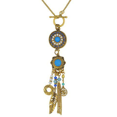 Classic Retro Beads Feather Multi-element Sweater Chain Necklace For Women - GOLDEN