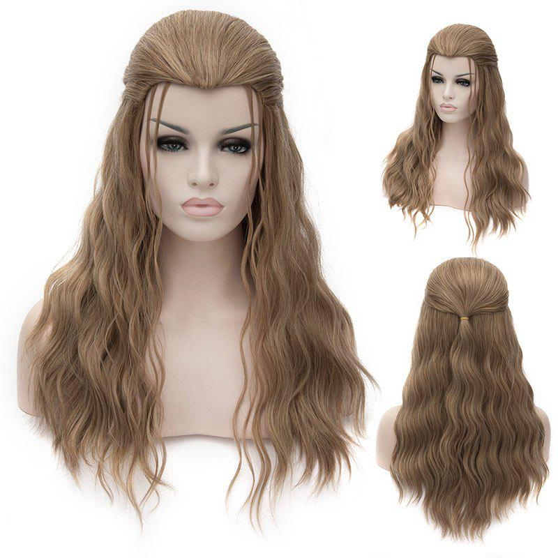 Fashion Long Wavy Fluffy Heat Resistant Synthetic Brown Sparkling Thor Cosplay Wig - BROWN