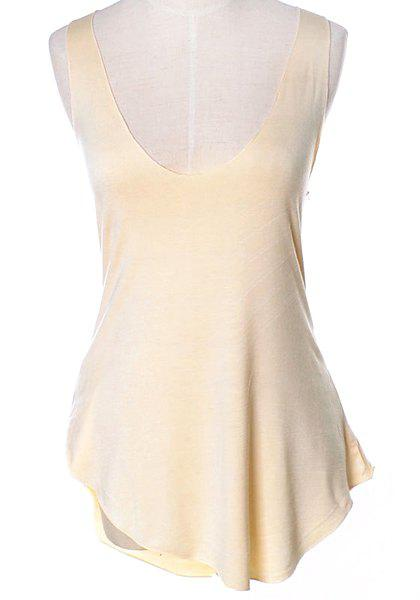 Brief Low-Cut Scoop Neck Candy Color Tank Top For Women - BEIGE ONE SIZE(FIT SIZE XS TO M)