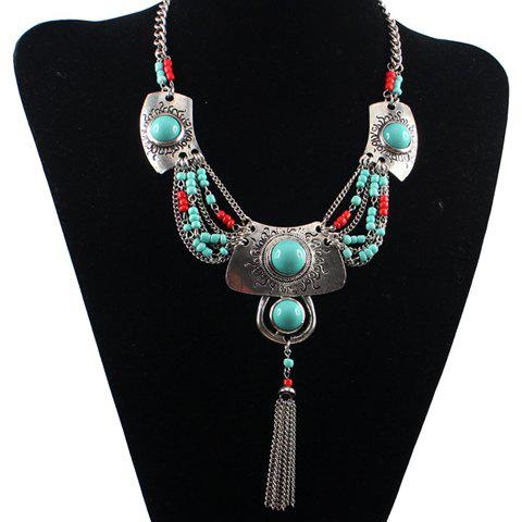 Bohemia Ethnic Turquoise Tassel Necklace For Women - SILVER