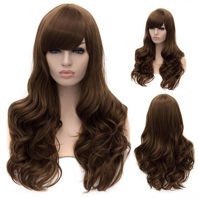Fashion Synthetic Long Wavy Deep Brown Sexy Charming Side Bang Women's Capless Wig