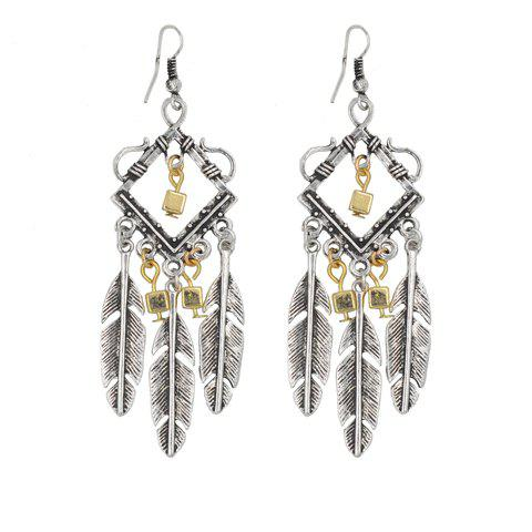 Pair of Stylish Bohemia Feather Geometric Earrings For Women - SILVER