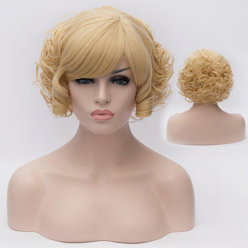 Stylish Synthetic Short Curly Fluffy Light Blonde Charming Side Bang Women's Capless Wig - COLORMIX