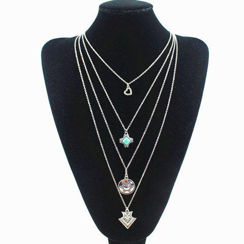 Beads Faux Turquoise Layered Necklace - SILVER