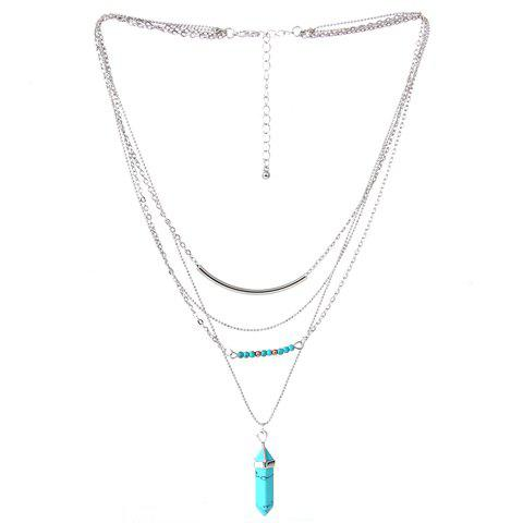 Faux Turquoise Layered Pendant Necklace - SILVER