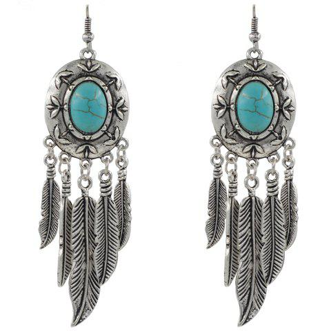 Pair of Beads Feather Drop Earrings - SILVER