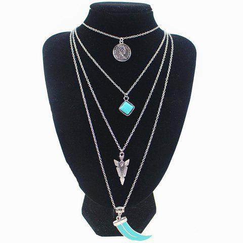 Chic Vintage Turquoise Wolf Teeth Layered Necklace For Women - SILVER