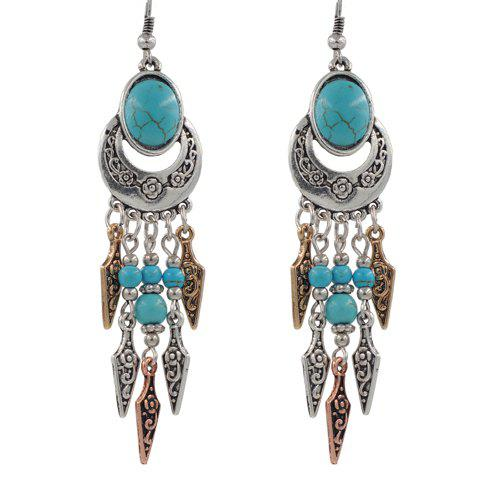 Pair of Faux Turquoise Arrow Earrings - SILVER