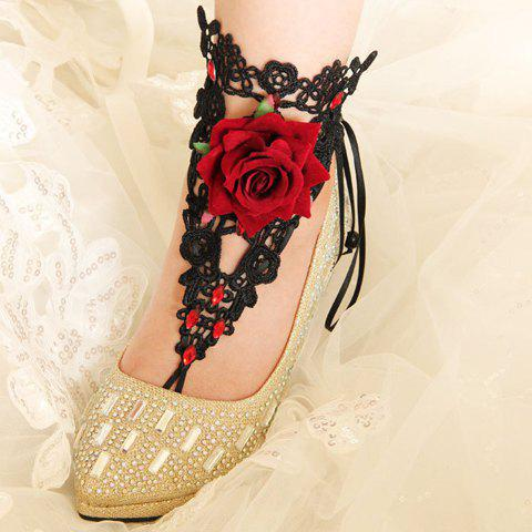 Sweet Delicate Lace Rhinestone Anklet For Women - BLACK