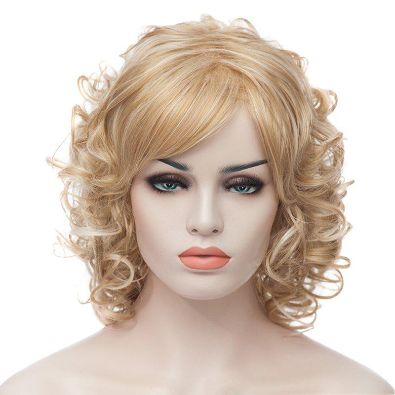 Medium Curly Trendy Fluffy Light Blonde Charming Synthetic Women's Capless Wig - LIGHT GOLD