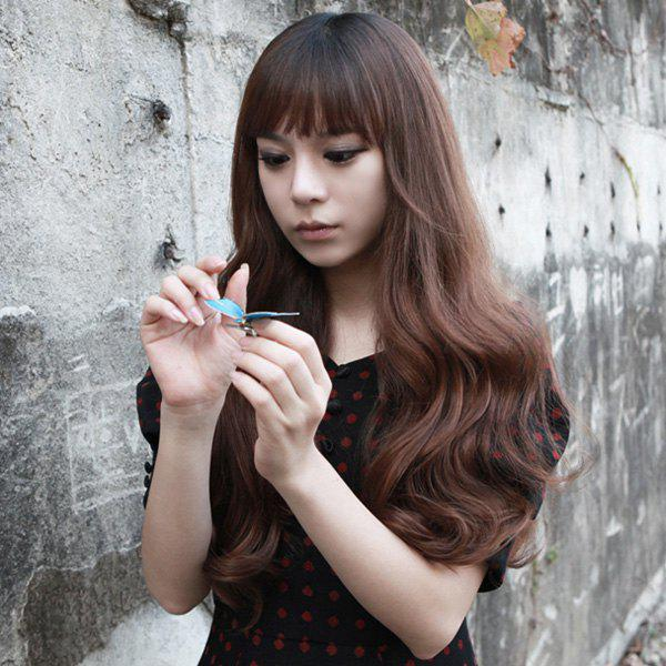 Fluffy Long Heat Resistant Synthetic Charming Wave Full Bang Capless Wig For Women