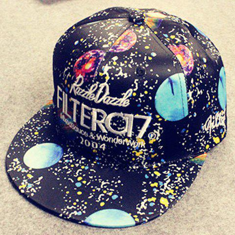 Stylish Letters Embroidery Starry Sky Pattern Baseball Cap For Men - BLACK