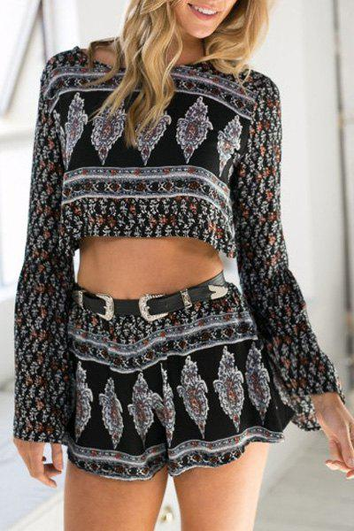 Fashionable Jewel Neck Argyle Print Backless Long Sleeve Crop Top + Shorts For Women - COLORMIX XL