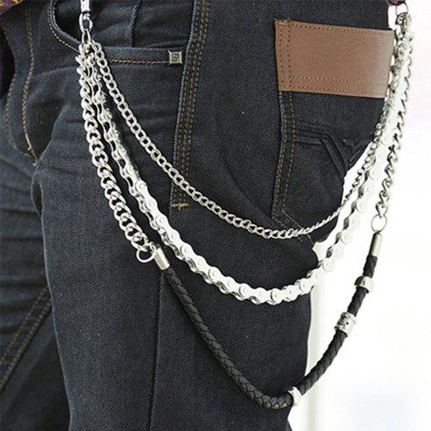 Stylish Gear Shape and PU Leather Splice Design Trousers Chain For Men - SILVER