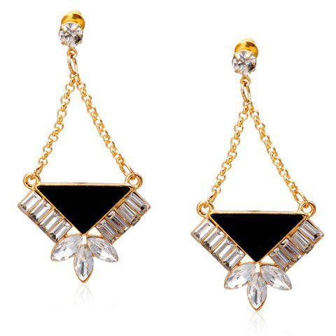 Pair of Retro Ethnic Rhinestone Triangle Earrings For Women - GOLDEN