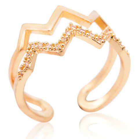 Stylish Chic Rhinestone Layered Wavy Ring For Women - GOLDEN ONE-SIZE